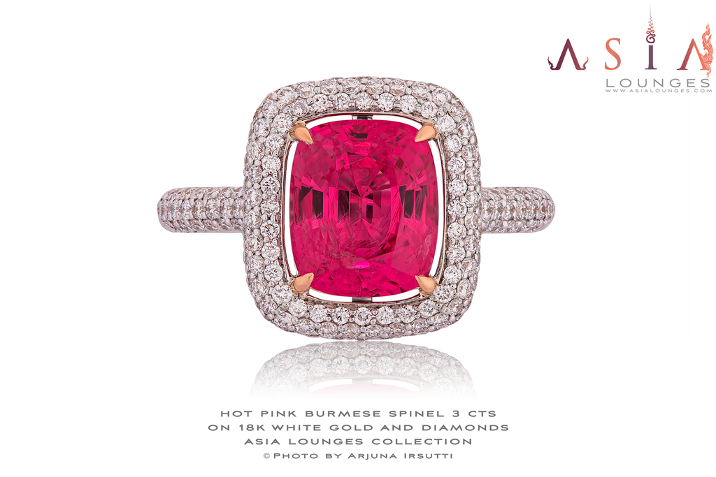 Hot Pink Burmese Spinel 3 cts on 18k White Gold and Diamonds Ring - Asia Lounges
