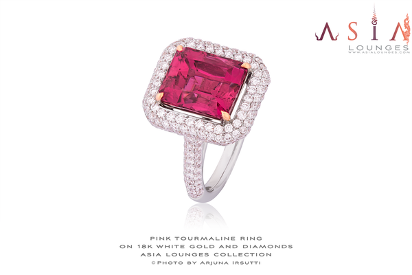 3.9 cts Pink Tourmaline on 18k White Gold and Diamonds - Asia Lounges