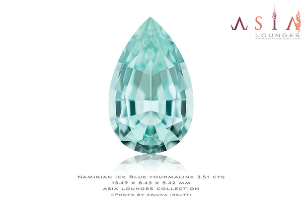 Delicious Ice Blue Pear Shape Tourmaline 3.51 cts - Asia Lounges