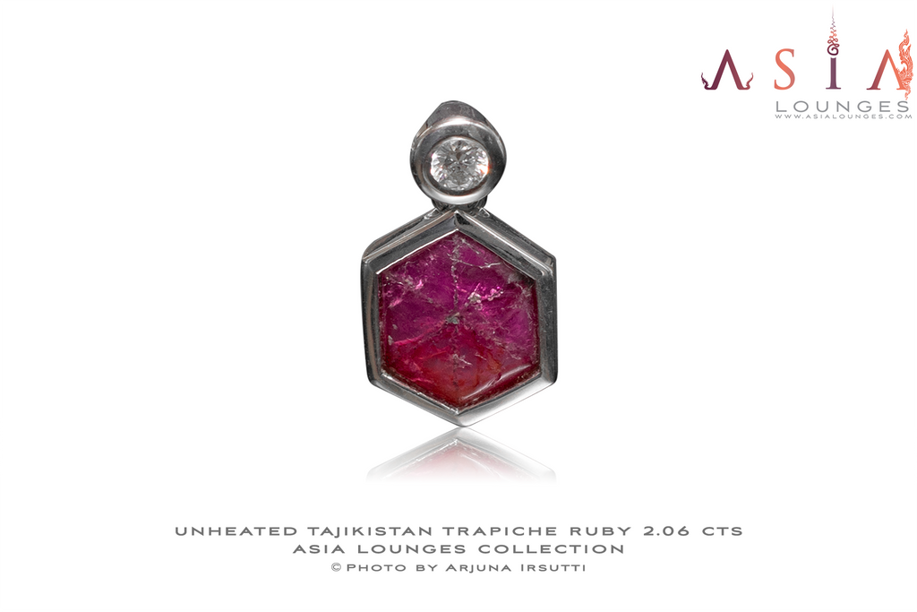Tajik Trapiche Ruby mounted in 18k white gold and Diamond - Asia Lounges