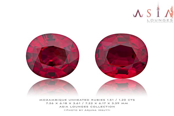 "Splendid Vivid Red ""Pigeon's Blood"" Natural Untreated Mozambique Ruby Pair 1.51 / 1.20 cts - Asia Lounges"