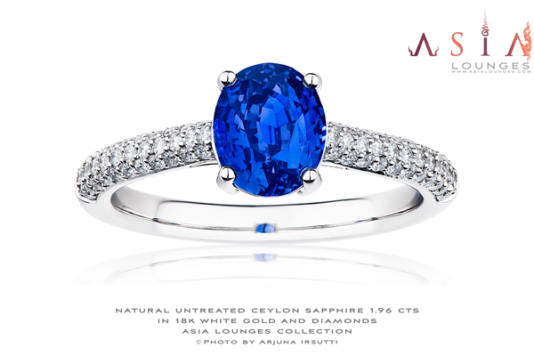 Natural Untreated Ceylon Blue Sapphire 1.96 cts in 18k White Gold and Diamonds ring - Asia Lounges