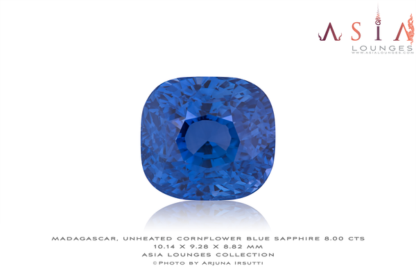 Madagascar Unheated Cornflower Blue Sapphire 8.00 cts - Asia Lounges