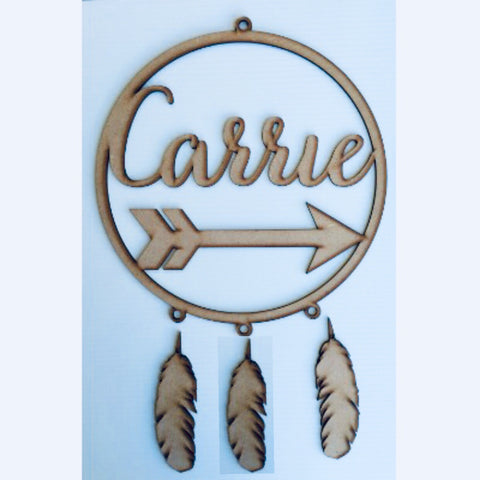 Personalised name arrow dream catcher MDF