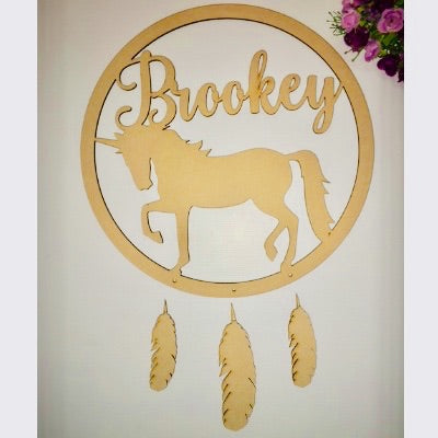 Personalised name dream catcher unicorn MDF