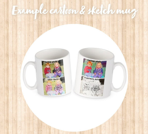 Personalised photo cartoon / sketch mugs
