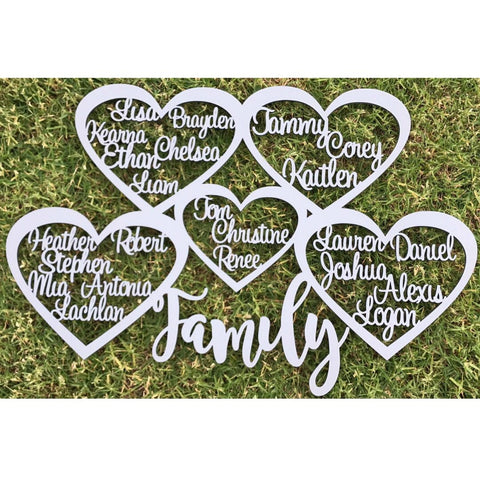 Personalised Family Heart with names Wall Hanging MDF