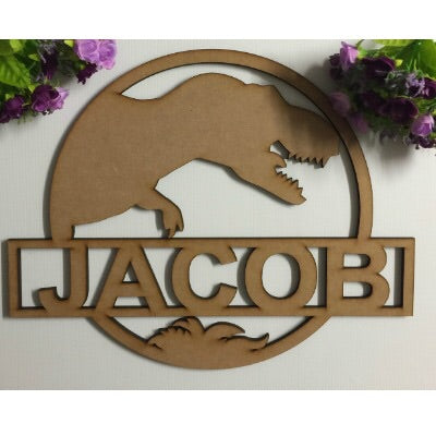 Dinosaur Name Plaque MDF