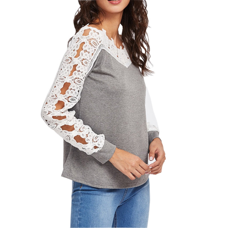 Lace Sleeve Long Sleeved Bottom Top T-shirt 2825