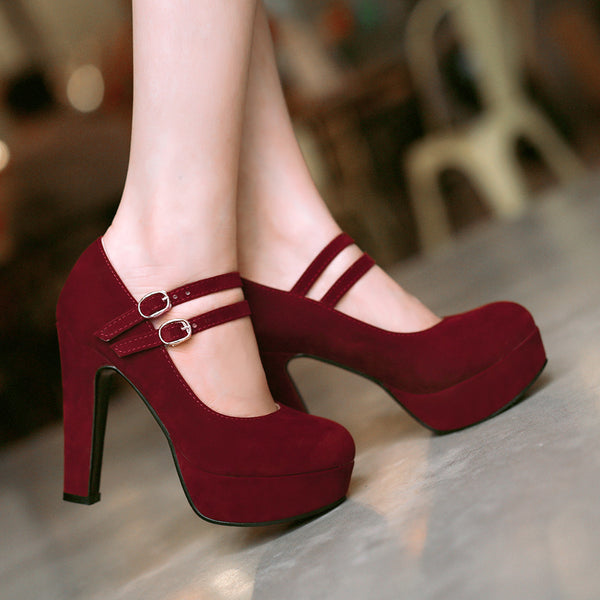 Women's Ankle Straps Platform Chunky High Heels Shoes