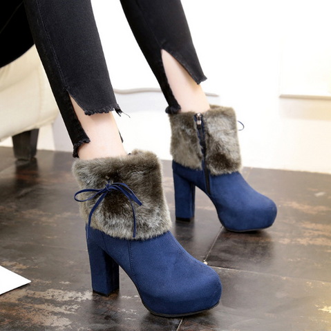 Faux Fur Knot Suede Platform Ankle Boots High Heels 4400
