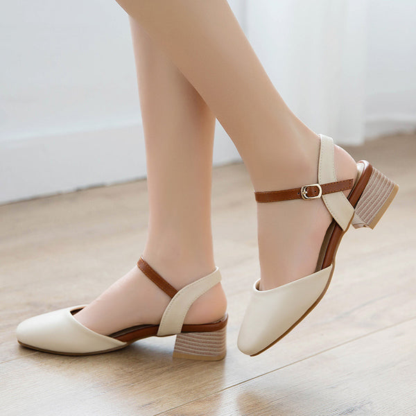 Hollow Out Ankle Straps Women Sandals Mid Chunky Heels Shoes MF5342