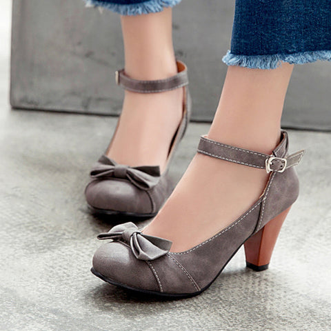 Women's Ankle Straps Bow Tie High Heels Shoes