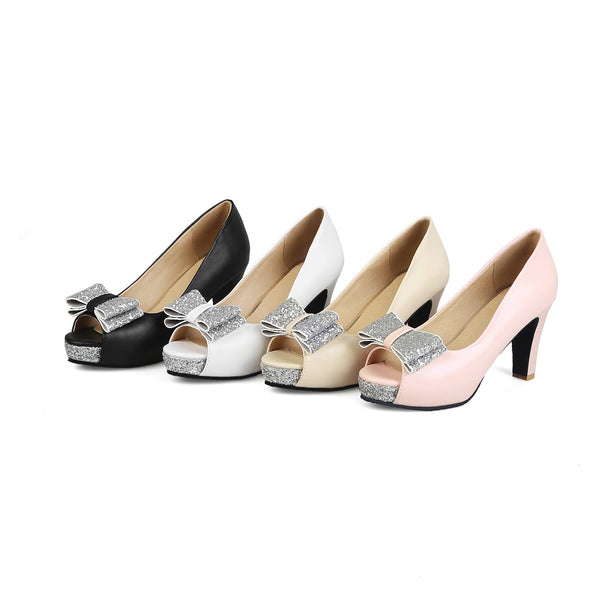 Bow Tie Platform High Heeled Shoes for Women 8368