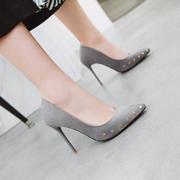 Lady Female Super High Heels Rivet Shallow Point Pumps Wedding Shoes