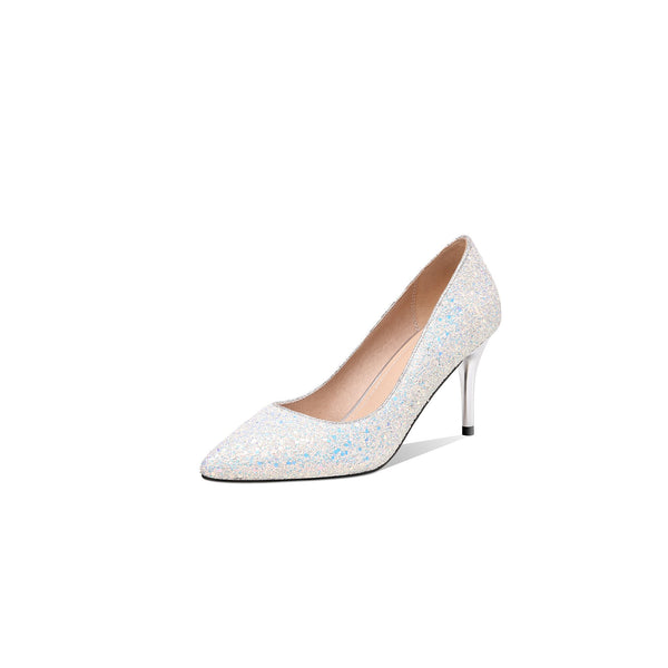 Lady Pointed Toe Sequined High-heeled Slim-mouth Wedding Woman Pumps Stiletto Heel Shoes