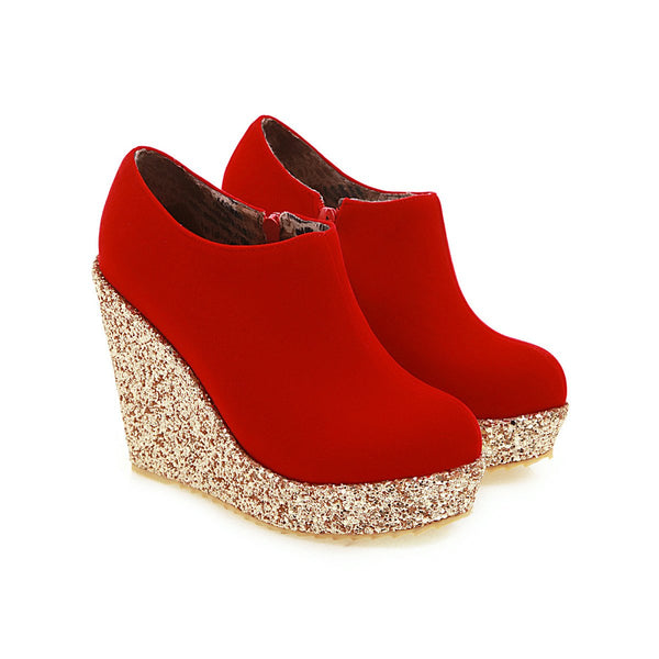 Lady High-heel with Sequins Platform Wedges Shoe Woman Plus Size