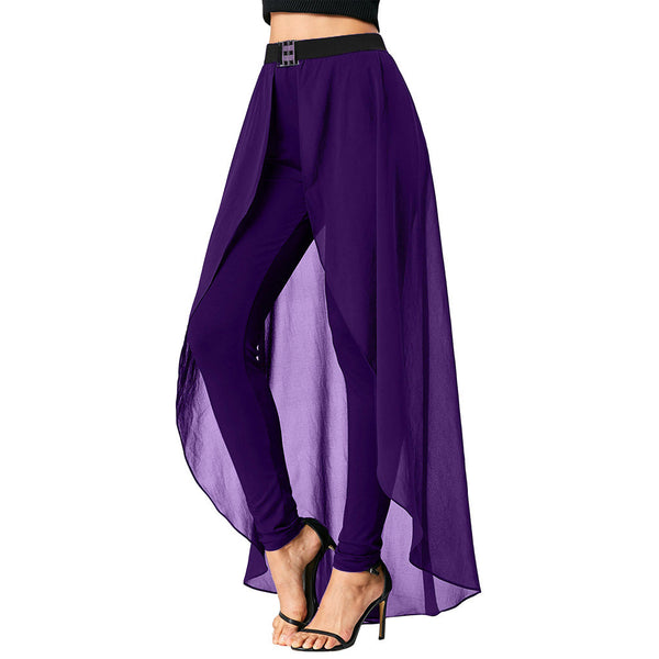 Black High Waist Women Pants with Skirt 8534