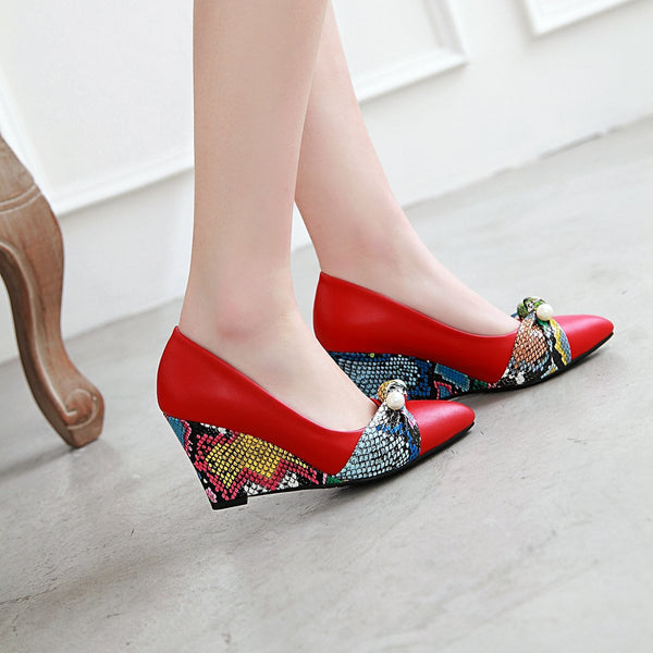 Lady Pattern High-heeled Slope-heeled 33-43 Plus Size Shallow-mouthed Wedges Shoes