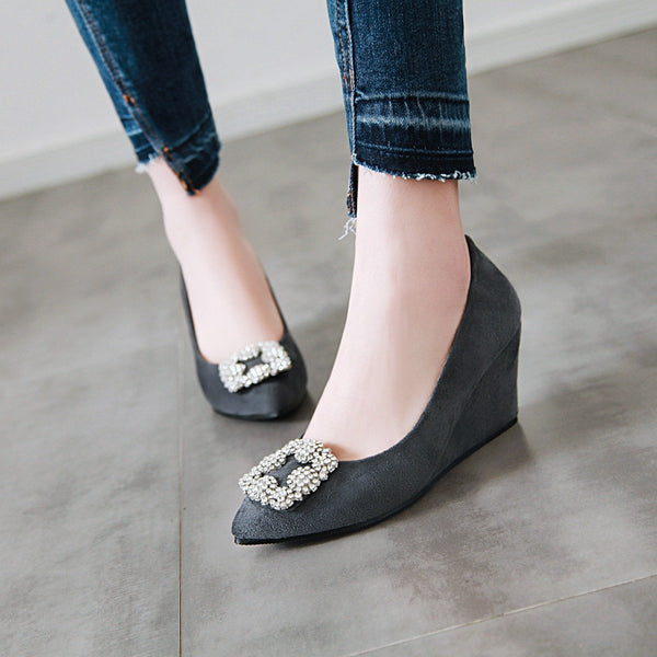 Lady Rhinestone High Heel Shallow Toe 33-43 Plus Size Wedges Shoes Woman