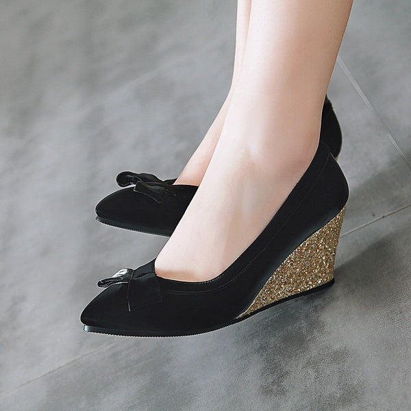 Lady Pointed Toe Shallow Mouth Sequined Wedges High Heeled Shoes