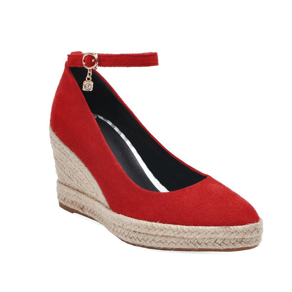 Lady Pointed Toe Platform Wedges Ankle Straps Buckle Woman Shoes