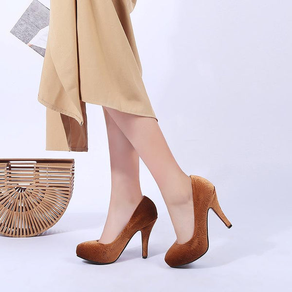 Lady Pointed Toe Round Toe Woman Platform Pumps Stiletto Heel