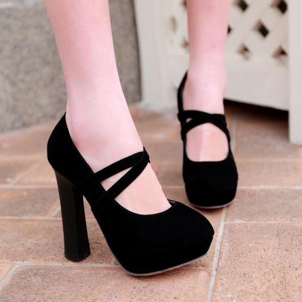 Straps Platform Thick High Heel Shoes Woman 4920