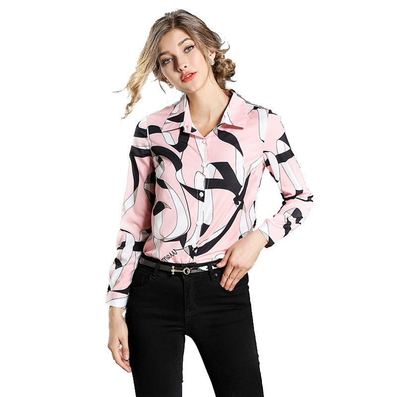 New Print Long-Sleeved Fashion Wild Shirt 5193