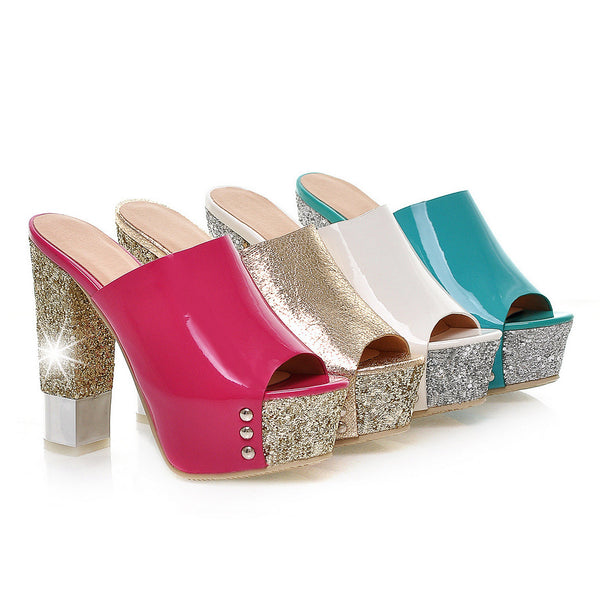 Sequin Platform Slides Sandals High Heels Shoes Woman 1130