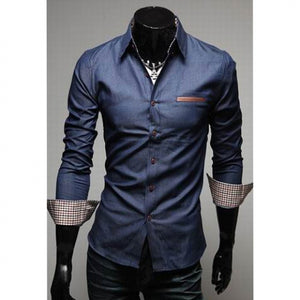 Casual Style Lapel Collar Pockets Design Bleach Wash Long Sleeves Denim Shirt For Men 9578