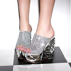 Sequin Women Platform Slides Sandals Wedge Heels Wedding Shoes for Summer 9596