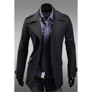 Chic Turndown Collar Double-Breasted Long Sleeves Woolen Black Trench Coat For Men 5270