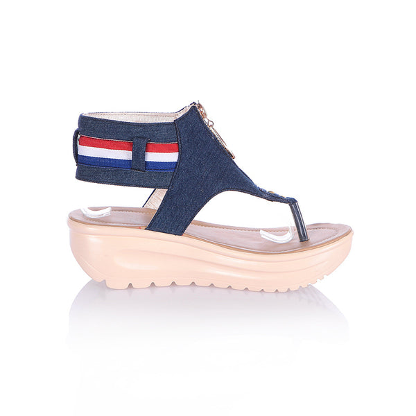 Denim T Strap Women Platform Sandals Wedge Heels Shoes for Summer 4419