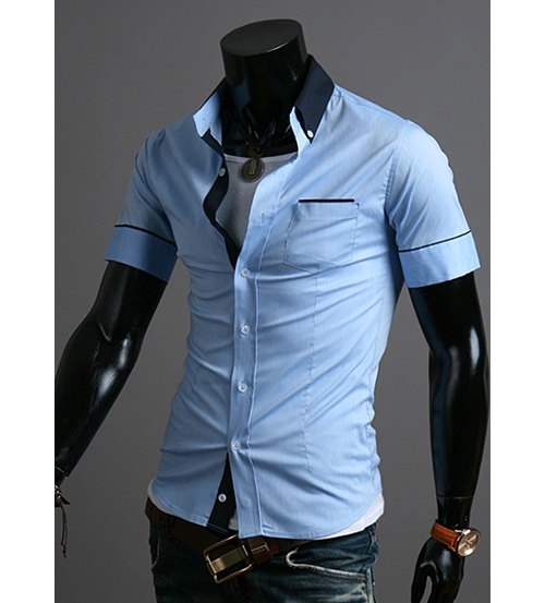 Turn-down Collar Short Sleeve Cotton Shirt with Pocket Design 2608