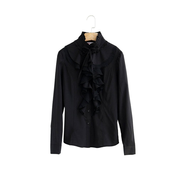 Women Office Blouses Victorian Top Button Silky Lace Collar Ruffle Satin Shirts 4025