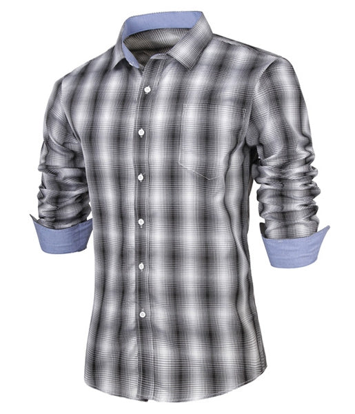 Slimming Turn-down Collar Fashion Plaid Print Pocket Embellished Long Sleeves Men's Shirt 4902