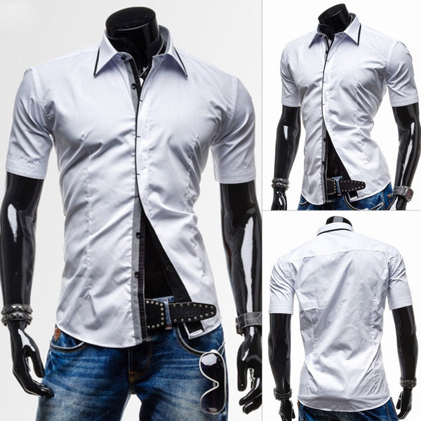 Classic Button Fly Turn-down Collar Slimming Short Sleeves Men's Polyester Shirt 6916