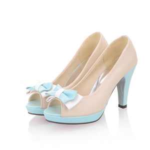 Summer Peep Toe Bowtie High Heels Platform Sandals for Women Shoes MF4050