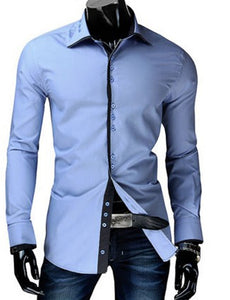 Casual Slim Fit Button Design Long Sleeve Shirt 1645