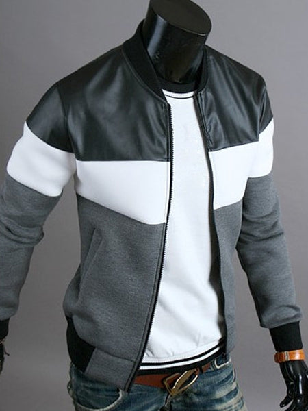 Classic Color Block PU Leather Spliced Rib Hem Stand Collar Long Sleeves Men's Slimming Jacket 1689