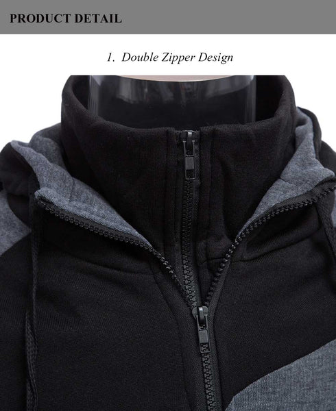 Casual Slim Fit Patchwork Double Zipper Design Long Sleeve Hoodies for Male 6935
