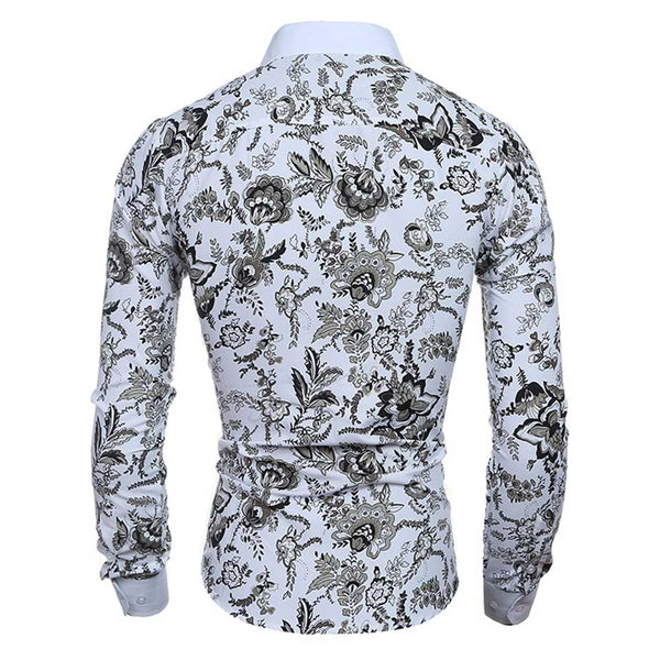 Slim Fit Floral Printed Long Sleeve Casual Shirt for Male 1666
