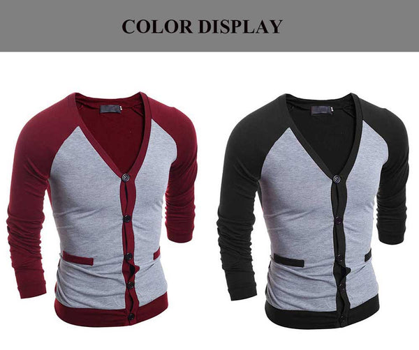 Casual Patchwork V Neck Male Long Sleeve Shirt 9604