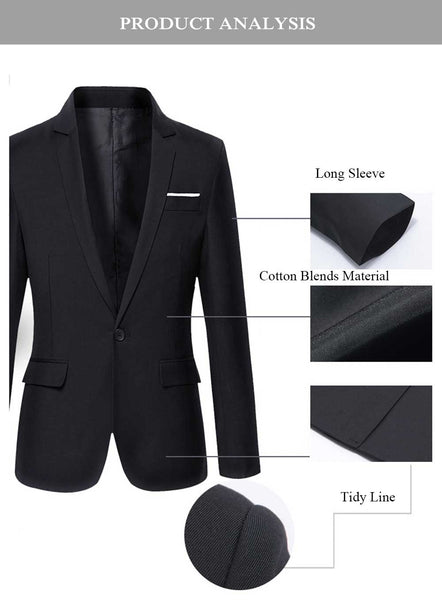 Stylish Pure Color Turn Down Collar Male Slim Fit Suit 5283
