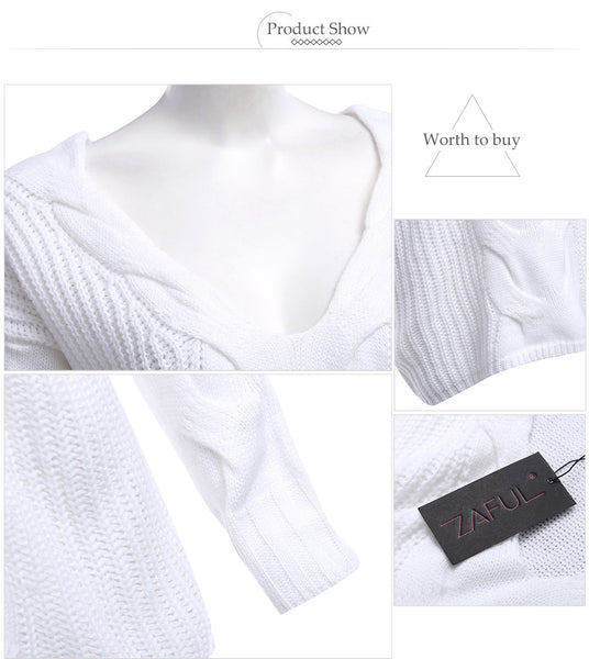 Brief V-Neck Pure Color Knitted Pullover for Women 5666