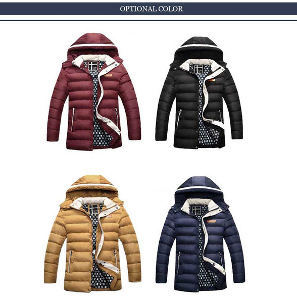 JOOBOX Casual Zipper Design Pure Color Male Warm Hooded Coat 3341