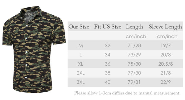 Turndown Collar Camouflage Printing Short Sleeve Shirt for Men 8324
