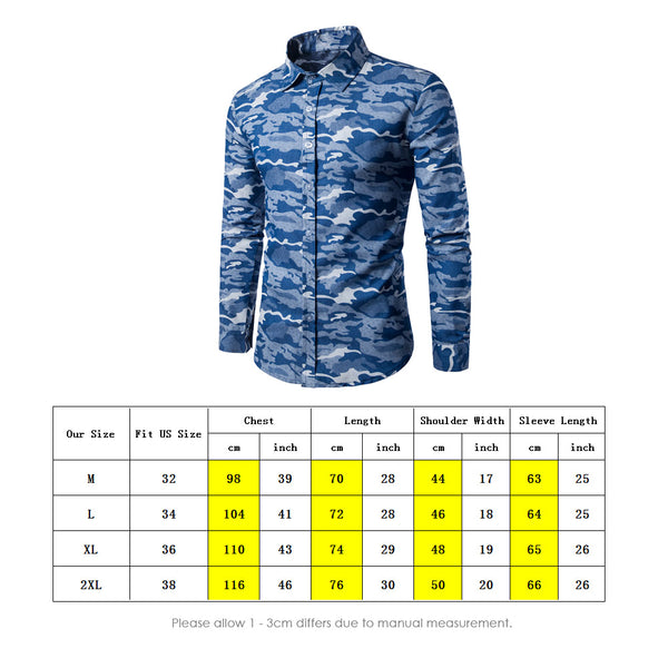 Casual Lapel Collar Camouflage Long Sleeve Denim Shirt for Men 2685