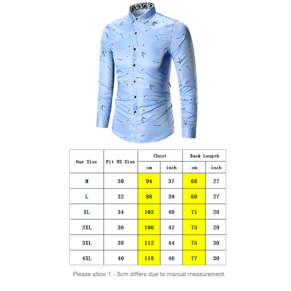 Turn Down Collar Arrow Printed Long Sleeve Men's Dress Shirt 6292